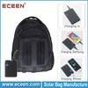3.6watts solar charging bag, solar panel bag with 2200mah power battery