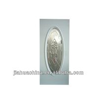 Hot sale baodu 32-in big oval light wooden frame polyurethane foam injected decorative inswing steel interior door with glass