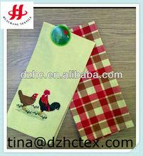 embroiderey design plain and check design tea towels bulk