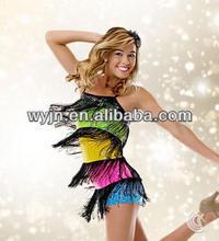 Newly launched rainbow latin dancedress -- The newest cute latin girl dance costume--child&adults latin dance skirt