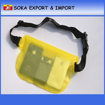 Plastic waterproof running waist bag pvc waterproof waist pack dry bag factory