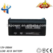 12V 200AH solar gel battery, sealed lead acid battery, maintenance free car battery
