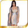 2014 short sleeves bronzing tight fitted cocktail dress bandage fashion