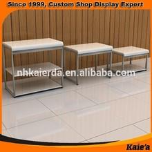Retail shop metal 2 tier display tables for shop