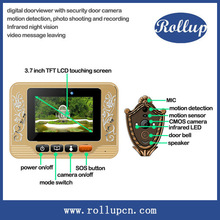 auto voice call door guard, infrared door eye camera, recording peephole viewer with SD card