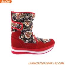 Red women half winter boots