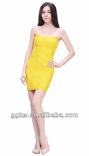 2014 sexy strapless Mini-lovely bandage dress yellow color for party/wedding/annual meeting/dinner etc