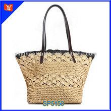 2014 hot selling summer fashion lady straw beach bag, flower pattern ladies long handle straw bag