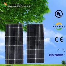 Tempered glass in panel 100w poly price per watt monocrystalline silicon solar panel