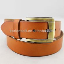Honed gold pin buckle strong belt for men