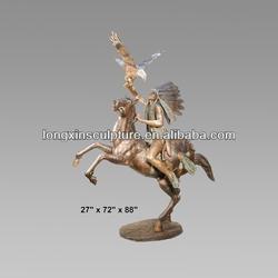 Garden Decor Bronze Indian Warrior on Rearing Horse Sculpture--Bronze Figure Sculpture