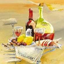 2014 Wine Tasting Bottles Glasses Winery Grapes Oil Painting