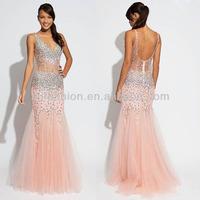 New Arrival V-neckline Beaded Crystals Nude 2014 Sexy Beaded Mermaid Prom Dresses