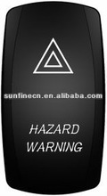 """NEW cover! Carling Style 12V/ 24V LED Rocker Switch T85 15A Waterproof Cover """"L"""" type Laser HARZARD WARNING writing"""