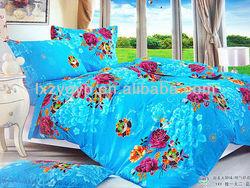 Floral design 100% cotton king size blue bedding set