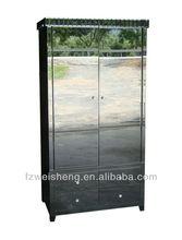 Smokeblack Mirrored 4 Drawer 2 Door Wardrobe