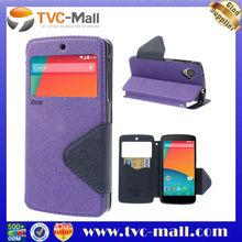 Roar Korea Fancy Diary for LG Google Nexus 5 D820 D821 Leather Cover w/ Card Slot - Dark Blue / Purple