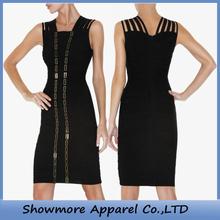 Style No. N015 latest black fashion different designs High Quality Bandage Dress