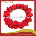 moda acessórios de cabelo vermelho artificial rosa floral cabeça guirlanda guirlanda para casamento