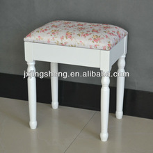 Country style upholstered stool with floral cushion, living room ottoman, timber stool