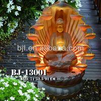 garden resin meditating buddha statues water fountain wholesale