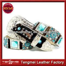 occidental de cuero marrón de color turquesa conchos berry cinturones de diamantes de imitación para los hombres