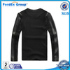 2014 custom wholesale crewneck leather sleeve sweatshirt