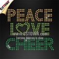 sparkle bling complementos de hierro la paz amor alegría uniformes de porristas personalizado