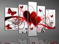 Impresso decorativo moderno tema love pintura de parede, 5 painel de impressão da lona para decoração de sala