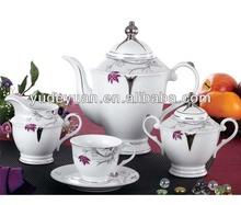 silver porcelain tea set
