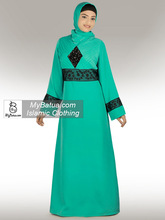 Modern Muslim Dress, Wholesale, Islamic Clothing, Duabi Fancy Jilbab/Burqa/Burka, Najya Turquoise Abaya AY-225