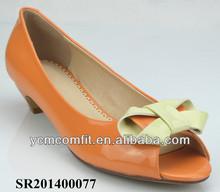 Orange lady leather shoe
