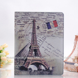Wake Up Pairs Eiffel Tower Dual Fold Faux Leather Protective Case Cover for iPad Mini