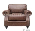 High end furniture single seat brown genuine leather sofa