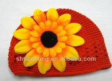 knitted fashion winter bebaby girl crochet flower hats