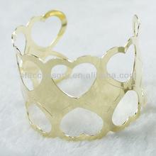 Jewelry Finding Heart Hollow Gold Iron Bracelets Cuff Bangle