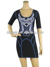 más elegantes de tejido de jacquard de manga corta vendaje vestido de las señoras vestido de cóctel h439