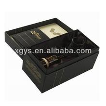 Luxury Black Rigid Paperboard Wine Packaging Box (XG-GB-408)