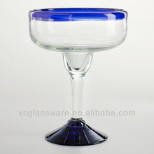 Clear Mexican openned rim Margarita Glass cased blue rim and base