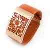 costume jewelry leather bracelet engraved flower bracelet wholesale