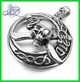 hombres 316l de gran tamaño de acero inoxidable colgante collar de plata calavera pirata irlandés celtic knot