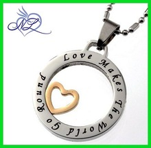 "Endless Love Symbol Pendant, Inspired Message Engraved ""Love Makes the World Go Round"""