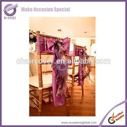 2014 Hot sale organza/taffeta wedding decoration ruffle chair sash wholesale