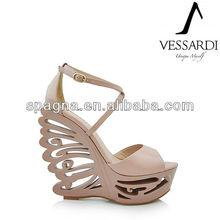 sexy frauen keil sandalen aus echtem leder schmetterling sandaletten