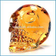 crystal skull head glass bottle, glass jar, glass vial
