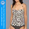 Shirred panels print sexy animal and women picture halter tankinis,women swimwear bikini