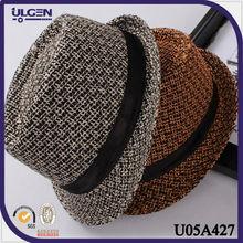 Hot sale new brown gray cheap men short brim fedora hat