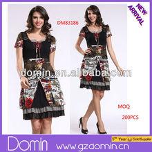 2014 Beautiful Lady Fashion Short Sleeve Dress one-piece Printed Dresses