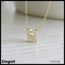 2014 letter M pendan necklace, simple design initial necklace, long chain necklace