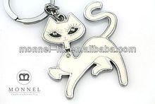 Monnel Z125 Wholesale Alloy Handmade Silver Tone White Cat Keychain Car keyring